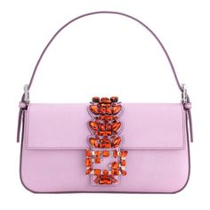 Fendi Lilac Embellished Baguette (38.061.760 IDR) ❤ liked on Polyvore featuring bags, handbags, shoulder bags, purses, fendi, pink, white purse, shoulder handbags, pink shoulder bag and white shoulder handbags