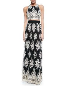 Tru+Embroidered+Sleeveless+Crop+Top+&+Brent+Embroidered+Maxi+Skirt+by+Alice+++Olivia+at+Neiman+Marcus.