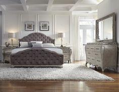 Rhianna Queen Tufted Bedroom Set in Platinum | Pulaski | Home Gallery Stores