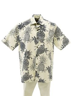 7695206a Hilo Hattie Hilo Hattie Pineapple Dream Cream Cotton Men's Hawaiian Shirt  Vintage Hawaiian Shirts, Mens