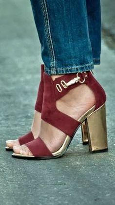 I m in love  with these shoes the plush Burgundy and the gold chunk heels are the perfect Colour pairing!