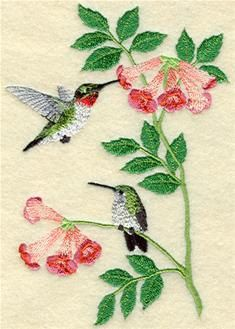 Summer Hummingbirds Embroidered Terry or Linen Hand Towel  -- You Pick the Color & Fabric -- Free Shipping