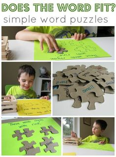 Simple word games using old puzzle pieces. Great for kindergarten!