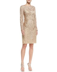 T9H6T Sue Wong Long-Sleeve Embroidered Lace Cocktail Dress, Beige