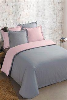 Conjunto edredão algodão 57 fios/cm² Bicolor - Cinza e rosa