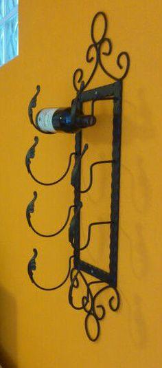 mensola cantinetta portabottiglie da muro parete in ferro battuto vino champagne