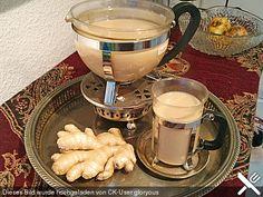 Schwarzer Tee mit Ingwer und Milch
