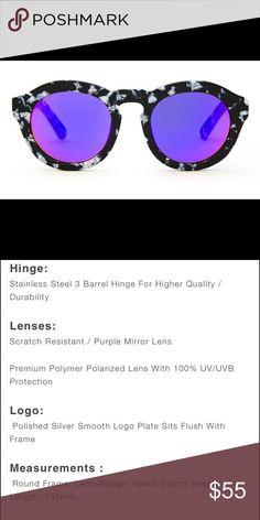 4e16050384430 Diff Eyewear Dime Sunglasses NWT IN BOX. Dime-Black White Frame-Purple Mirror  Polarized Lens. COMES WITH SUNGLASS CASE Diff Eyewear Accessories Sunglasses