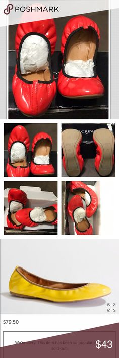 """Suzette patent flats J.CREW SUZETTE BALLET FLATS RED PATENT LEATHER UPPER ELASTICIZED TOP LINE LEATHER LINING  1/4"""" HEEL  9.5"""" -MEASURES ON THE FOOTBED SIZE  7.5 M  WORN ONCE EXCELLENT condition J. Crew Shoes Flats & Loafers"""