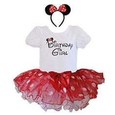 Birthday Girl T-Shirt with Polka Dot Tutu and Headband 3 PCs Set (Age 1, Red and White with White dots)
