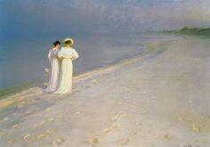 Peder Severin Kroyer-Soir d'été à la plage Sud à Skagen avec Anna Ancher et Marie Kroyer 1893