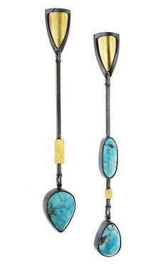 Made exclusively for you by Lynn Harrisberger, these one-of-a-kind, asymmetric earrings feature beautifully matched rare, Natural, Blue Moon Turquoise from Nevada, 18kt Gold Bi-Metal and Oxidized Sterling Silver.