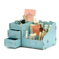Creative Desk Organiser Desk Organiser Drawers Office Desk Storage Boxes Lady Jewellery Storage Boxes Big Panda (Blue) Best Home Office Desk, Home Office Storage, Desk Storage, Desk Organization Diy, Diy Desk, Organising, Jewellery Boxes, Jewellery Storage, Wooden Storage Boxes
