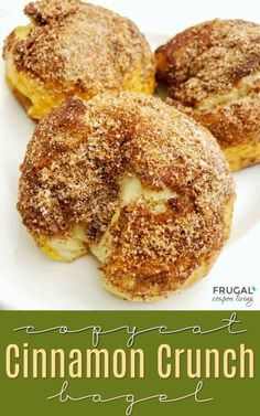 Copycat Cinnamon Crunch Bagel, a Panera Bread Inspired Breakfast just like the real thing! More copycat recipes on Frugal Coupon Living. Cinnamon Bagels, Cinnamon Crunch Bagel Recipe, Souffle Recipes, Fondue Recipes, Queso Cheddar, Breakfast Bread Recipes, Homemade Bagels, Sourdough Recipes, Bread Machine Recipes
