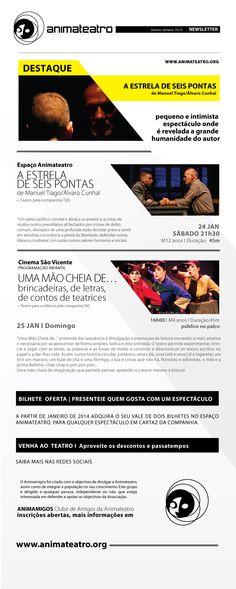 Programação para este fim de semana no Espaço ANIMATEATRO e no CINEMA SÃO VICENTE!