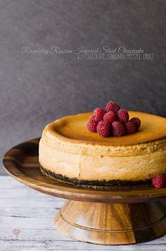 Boozy beer birthday cheesecake. Raspberry Russian Imperial Stout Cheesecake with Chocolate Cinnamon Pretzel Crust by ©Bakingdom