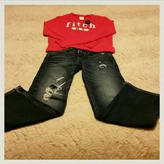 A*F kids size 10 boot cut destroyed jeans A&F kids size 10 boot cut destroyed jeans in EUC! The bottoms have been cut about 1.5 inches to fit over boots. Comes from a smoke free home, open to offers, and I love to BUNDLE! Abercrombie & Fitch Jeans Boot Cut