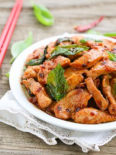 Thai Basil Chicken-Make this takeout at home in less than 20 minutes. It's…