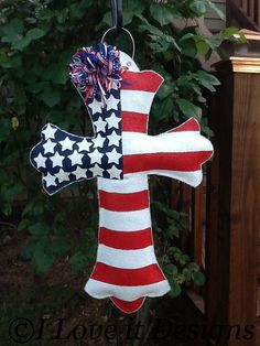Hey, I found this really awesome Etsy listing at http://www.etsy.com/listing/101417746/cross-flag-burlap-door-hanger