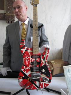 "Eddie Van Halen's Frankenstrat replica at the Smithsonian Museum. THE SMITHSONIAN, Ladies and Gentleman. ""Guitar God & Savant"" still healthy & among us! You got Leo Fender, Les Paul and Eddie Van Halen. Best guitar makers, ever!!!"