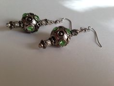 Silver tone fashion earrings with lime green by MotifsandFusion, $7.50
