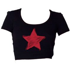 Red-Blue-White Star Challenger Crop T-Shirt ♀ ($22) ❤ liked on Polyvore featuring tops, t-shirts, blue top, white t shirts, red t shirt, star t shirt and red crop tee