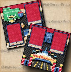 DISNEY WORLD ~ 2 premade scrapbook pages layout print paper piecing BY DIGISCRAP #DigiScrapPrints