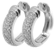 1.20ct Diamond Hoops Earrings   New York Estate Jewelry   Israel Rose