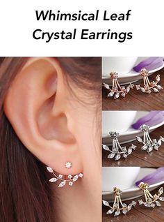 Whimsical Leaf Crystal Earrings
