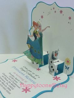 Frozen fever pop-up birthday invitations. Our ice queen invites you to a children& birthday party with the motto Frozen. Frozen Party Invitations, Frozen Party Games, Pop Up Invitation, Disney Frozen Party, Slumber Party Games, Frozen Birthday Cake, Frozen Theme Party, Carnival Birthday Parties, Birthday Party Games