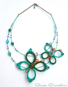 RESERVED Necklace butterflies enamel copper por GiadaCortellini