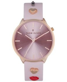 3da1c2fde Women's Pink Leather Strap Watch 40mm | macys.com Pink Leather, Pastel Pink,