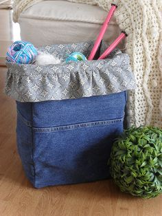 "Here's my latest sewing project...I call it my ""Denim Project Bag"".  I needed something to hold my knitting projects so I created this bag....."