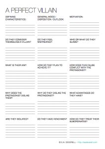 Mwahahaha! Use this #writing worksheet to craft the perfect villain. > http://eadeverell.com/writing-worksheet-wednesday-villains/