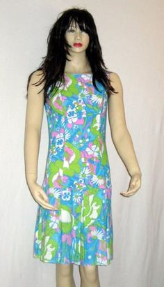 Vintage Miami Dress Cool Colors Drop Waist by 2nuttygirlz on Etsy, $24.99