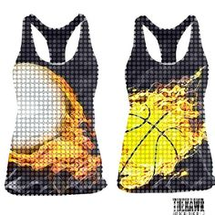 Thekawr fire volleyball and fire basketball performance sports tanks.