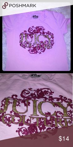 Juicy Couture girls tee Sparkly pink and gold shirt. Worn less than a handful of times but still in really good condition. Offers welcome. Juicy Couture Shirts & Tops