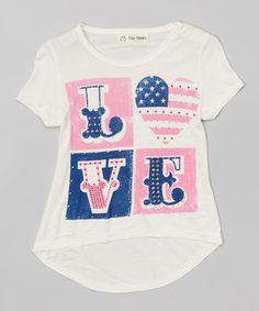 Loving this Cream American Flag 'Love' Hi-Lo Tee - Girls on #zulily! #zulilyfinds