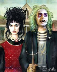 Beetlejuice American Gothic Portrait Illustration by DirtyLola