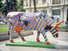 "Barcelona, Spain - Cows on Parade 2005 - ""CowWorld.Com"" - 100+ life size fiberglass cow statues"
