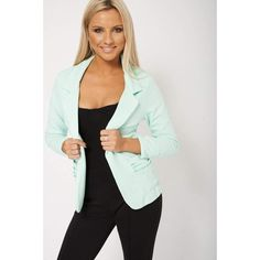 Mint Green Blazer With Turn Down Collar