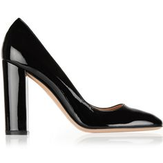 Gianvito Rossi Patent-leather pumps ($655) ❤ liked on Polyvore featuring shoes, pumps, heels, обувь, block heel shoes, high heel shoes, slip on shoes, black high heel shoes and black patent pumps
