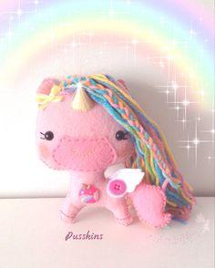 Rainbow Light, OOAK Handmade Felt Unicorn, Nursery Ornament, Hanging Decoration, Plush Keepsake, Collectable Gift, Pink Cute Kawaii  Meet Rainbow