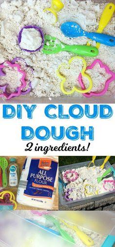 Cloud Dough - 2 Ingredients DIY Cloud Dough Flour Baby Oil - great for sensory play!DIY Cloud Dough Flour Baby Oil - great for sensory play! Toddler Crafts, Toddler Toys, Baby Toys, Baby Play, Toddler Games, Kids Crafts, Recycling For Kids, Diy For Kids, Flour Crafts