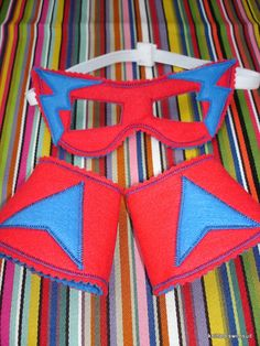 Red and blue Superhero mask and cuffs for by knittedswimsuit