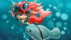 Computerspiel League Of Legends  Nami Mermaid Anime Urf Wallpaper