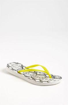 Summer snakeskin flops.