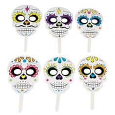 Day Of The Dead Party Supplies, Day Of The Dead Stick Masks