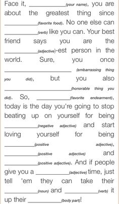 Self-Esteem Mad Lib.