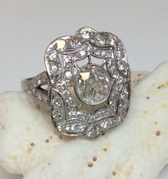 Antique Art Deco Platinum 1.90ct Old Mine Diamond Engagement Ring Circa 1920S #SolitairewithAccents